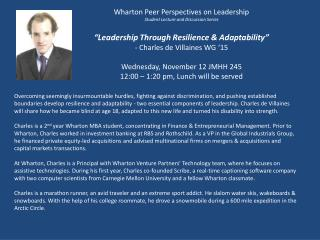 Wharton Peer Perspectives on Leadership Student Lecture and Discussion Series