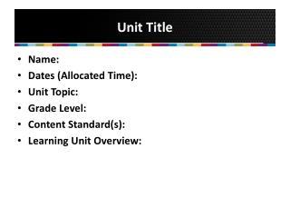 Unit Title