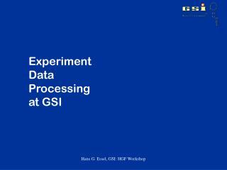 Experiment  Data  Processing  at GSI