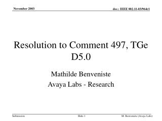 Resolution to Comment 497, TGe D5.0