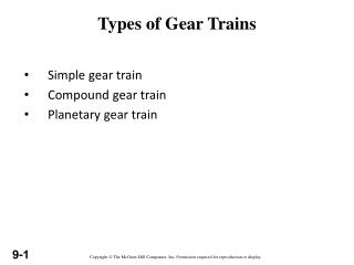 Types of Gear Trains
