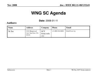 WNG SC Agenda