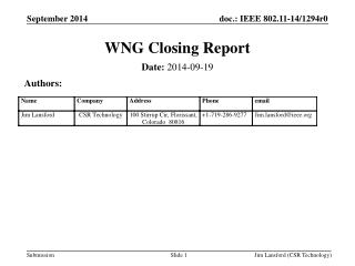WNG Closing Report