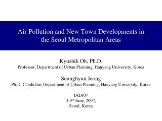 Air Pollution and New Town Developments in the Seoul Metropolitan Areas