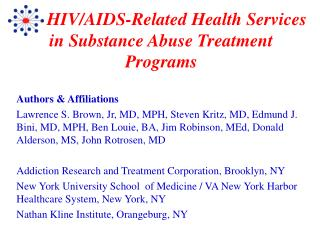 HIV/AIDS-Related Health Services in Substance Abuse Treatment Programs