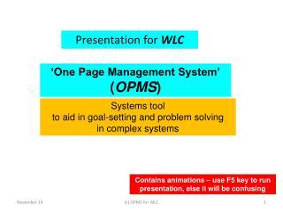 Presentation for  WLC
