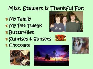 Miss. Stewart is Thankful For:
