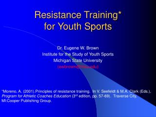 Resistance Training*  for Youth Sports