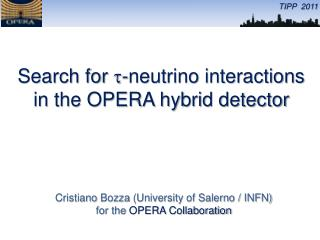 The OPERA hybrid detector was designed to search for  n t appearance in the  n m  CNGS beam