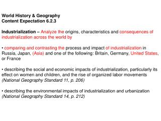 World History & Geography Content Expectation 6.2.3