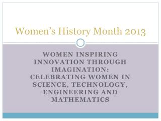 Women's History Month 2013