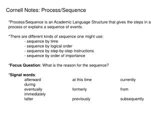 Cornell Notes: Process/Sequence