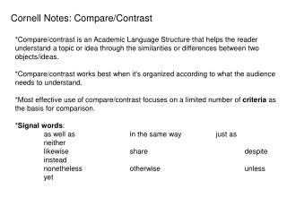 Cornell Notes: Compare/Contrast