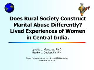 Lynette J. Menezes, Ph.D. Martha L. Coulter, Dr. P.H.