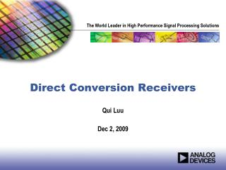 Direct Conversion Receivers
