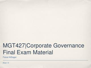 MGT427|Corporate Governance Final Exam Material