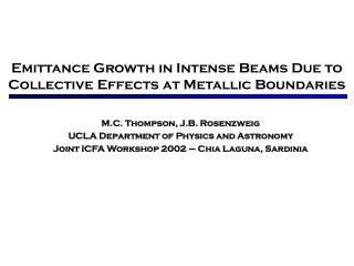 Emittance Growth in Intense Beams Due to Collective Effects at Metallic Boundaries