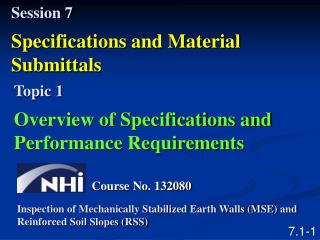 Session 7 Specifications and Material Submittals