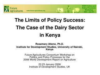The Limits of Policy Success: The Case of the Dairy Sector in Kenya