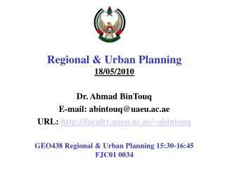 Regional & Urban  Planning  18 /05/2010
