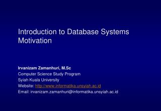 Introduction to Database Systems Motivation