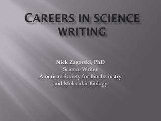Careers in Science Writing