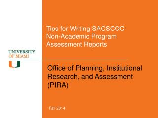 Tips for Writing SACSCOC  Non-Academic Program Assessment Reports