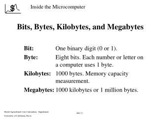 Bits, Bytes, Kilobytes, and Megabytes