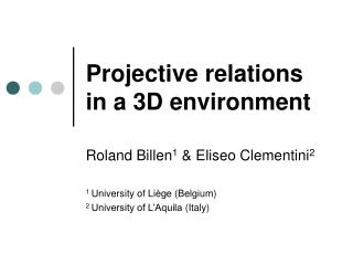 Projective relations in a 3D environment