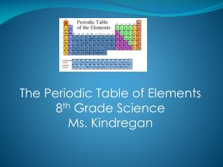 The Periodic Table of Elements 8 th  Grade Science Ms. Kindregan