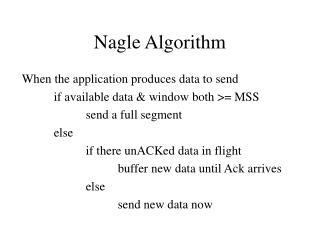 Nagle Algorithm