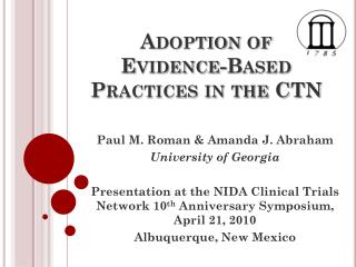Adoption of Evidence-Based Practices in the CTN
