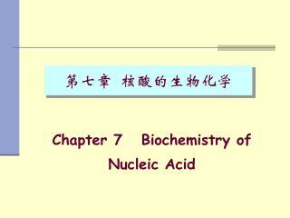 第七章  核酸的生物化学