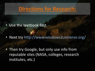 Directions for Research:
