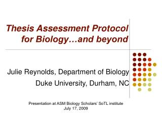 Thesis Assessment Protocol  for Biology�and beyond