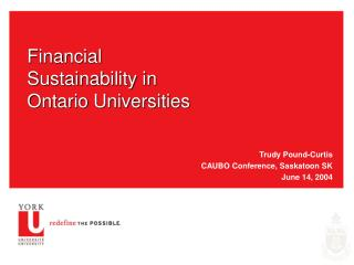 Financial Sustainability in Ontario Universities