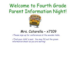 Welcome to Fourth Grade Parent Information Night!