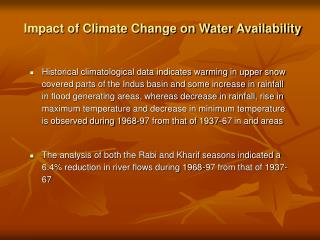Impact of Climate Change on Water Availability