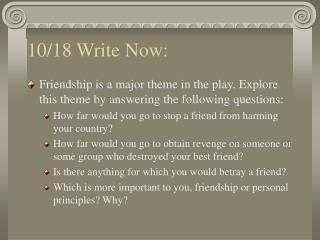 10/18 Write Now: