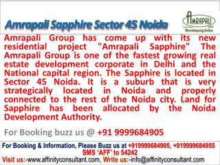 Amrapali Sapphire apartments Sector 45 Noida @ 09999684905