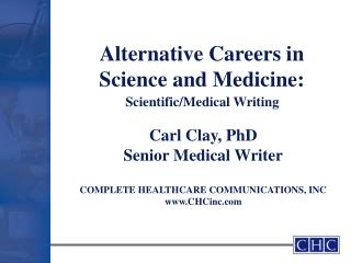 Alternative Careers in Science and Medicine: Medical and ...