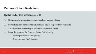 Purpose-Driven Guidelines