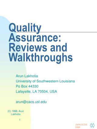 Quality Assurance: Reviews and Walkthroughs