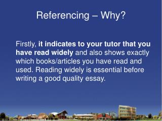 Referencing – Why?