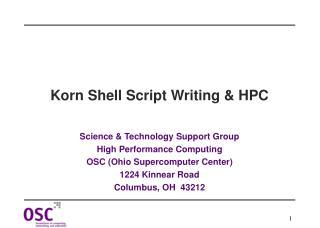Korn Shell Script Writing & HPC