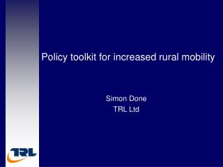 Policy toolkit for increased rural mobility