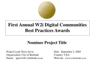 First Annual W2i Digital Communities Best Practices Awards