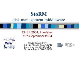StoRM disk management middleware