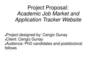 Project Proposal:  Academic Job Market and  Application Tracker Website
