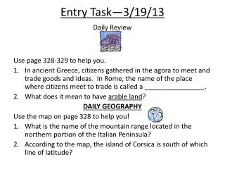 Entry  Task—3/19/13